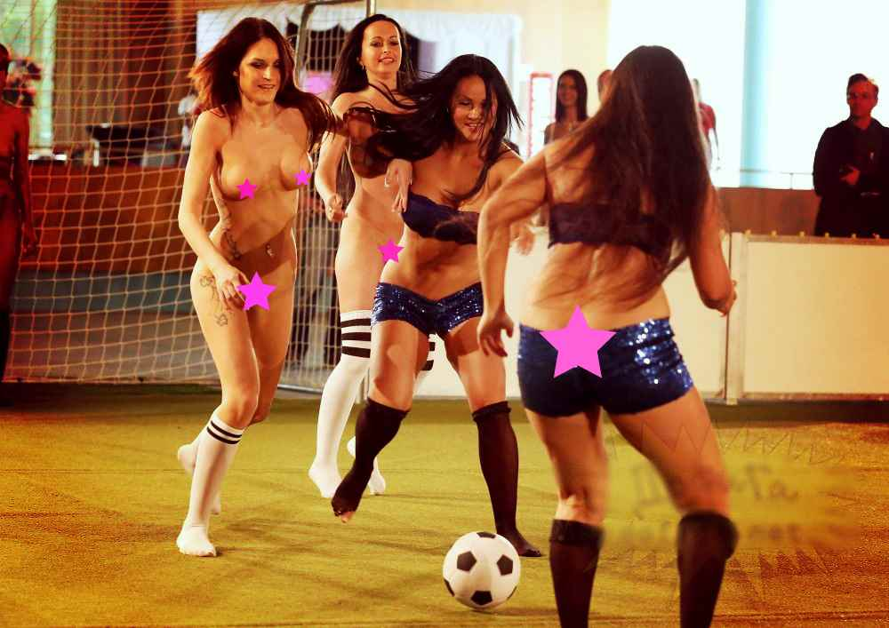 Womens Topless Playing Football Photo