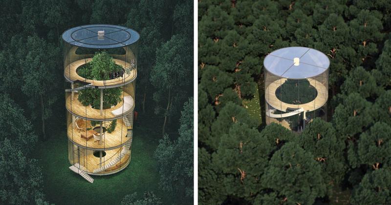 Казахский дизайнер спроектировал потрясающий стеклянный дом в виде… трубы вокруг дерева  (фото)